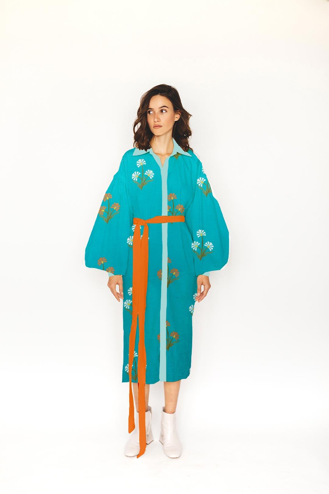 Cotton Shirt Dress – Aqua