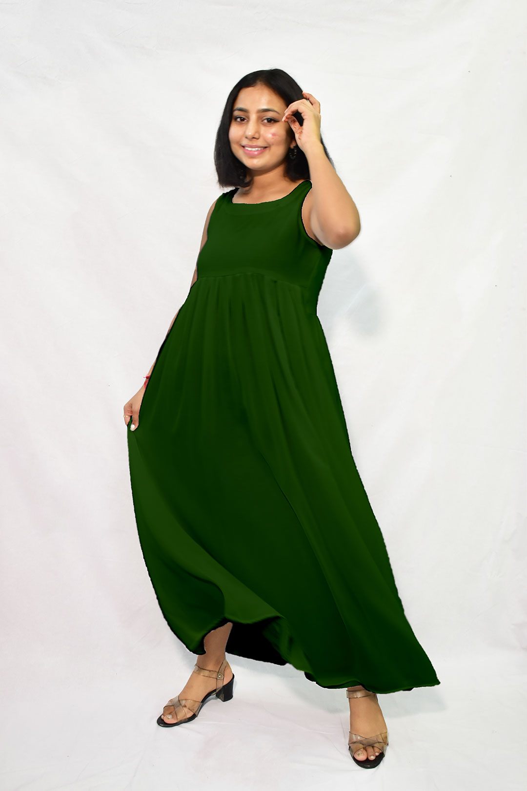 Georgette Maxi Dress – Solid (Olive)