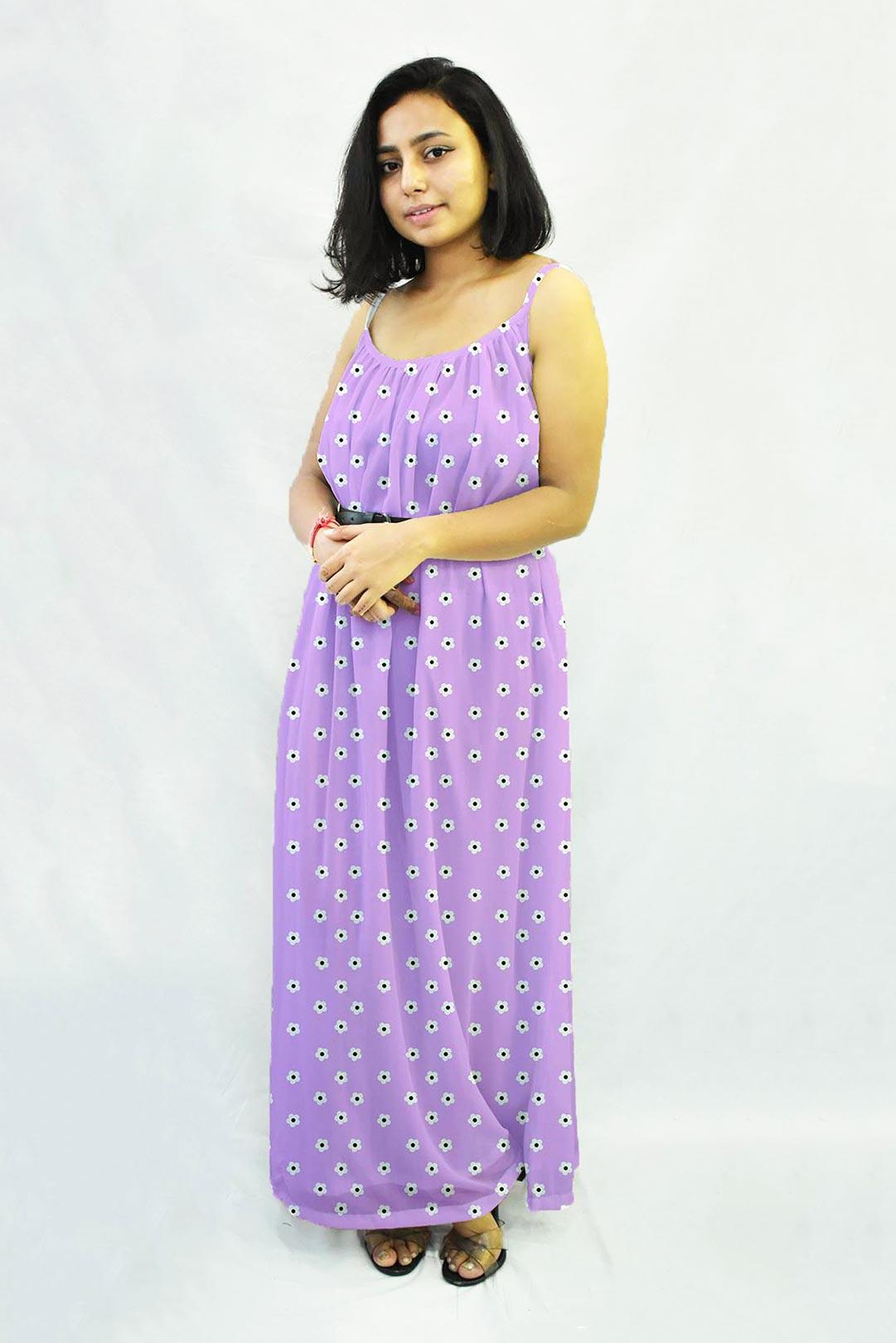 Georgette Gathered Dress – Iris