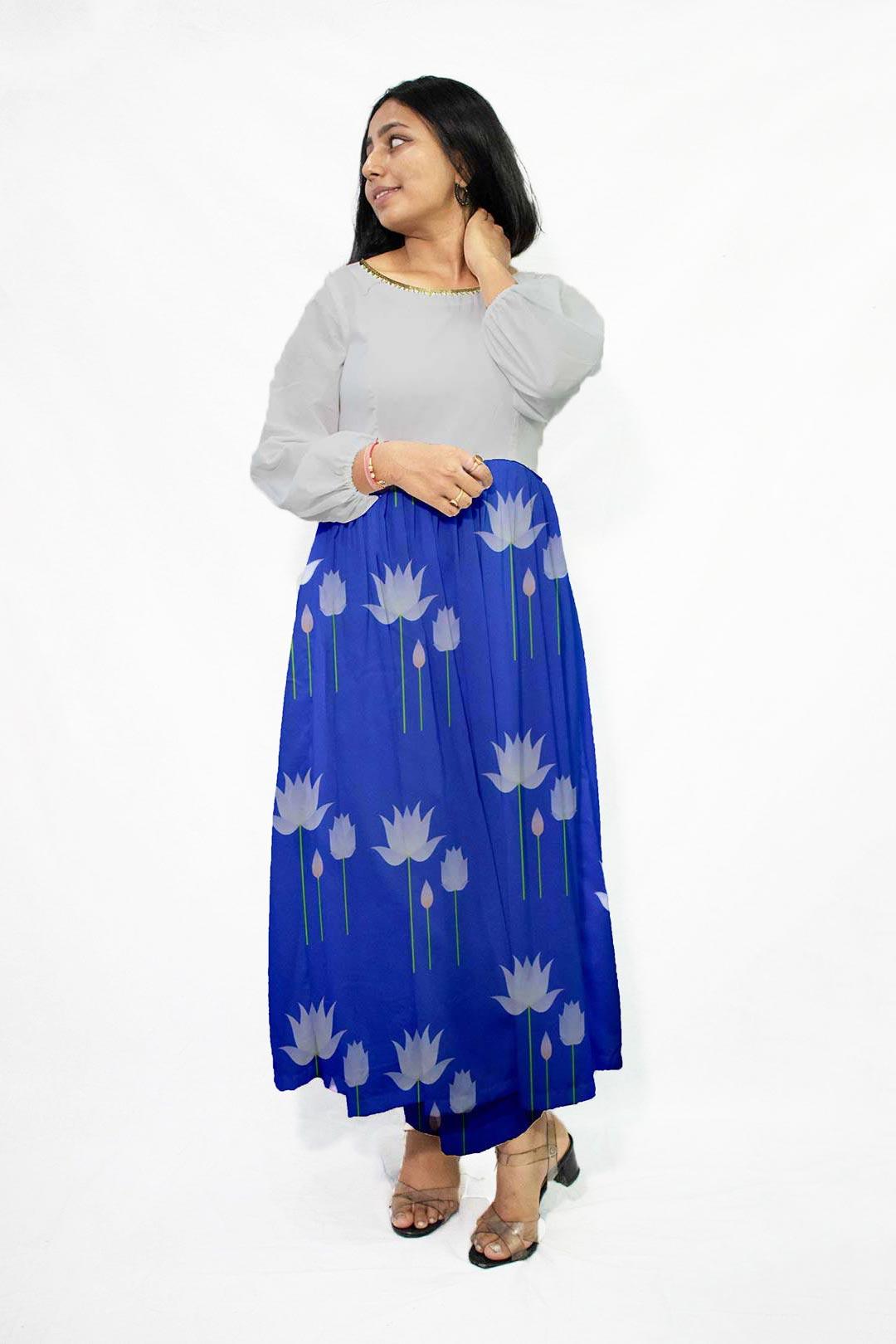 Georgette Frock Style Kurta – Water Lily
