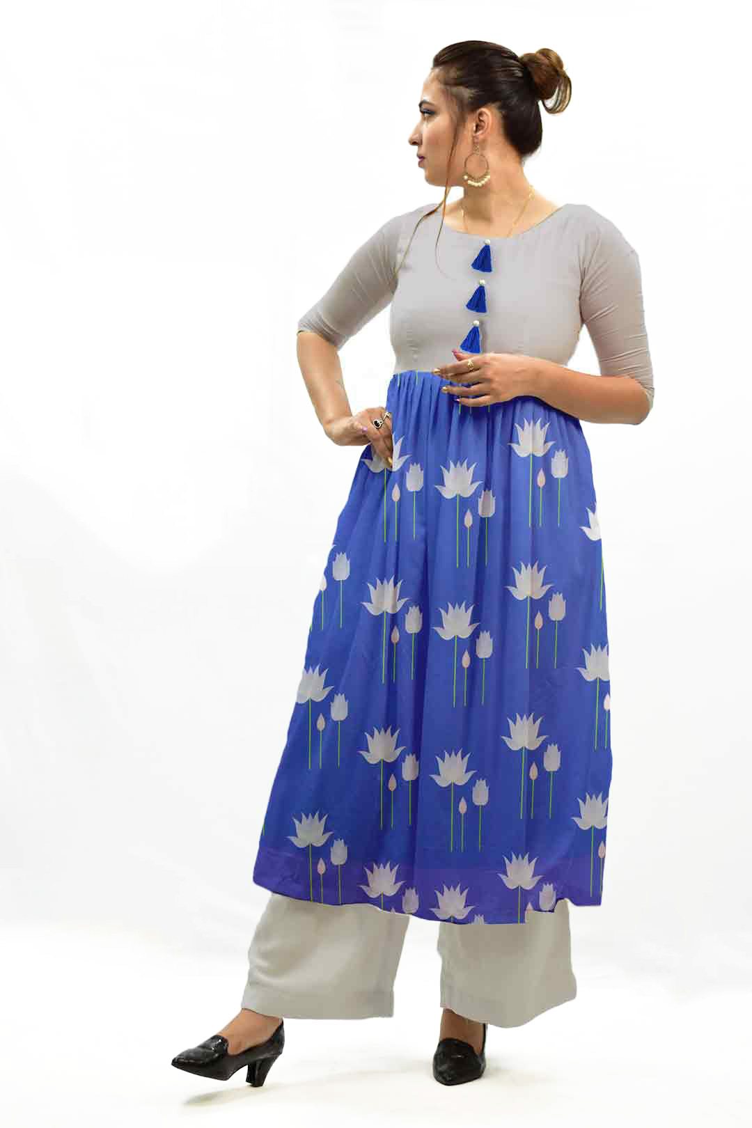 Georgette Frock Style Suit – Water Lily