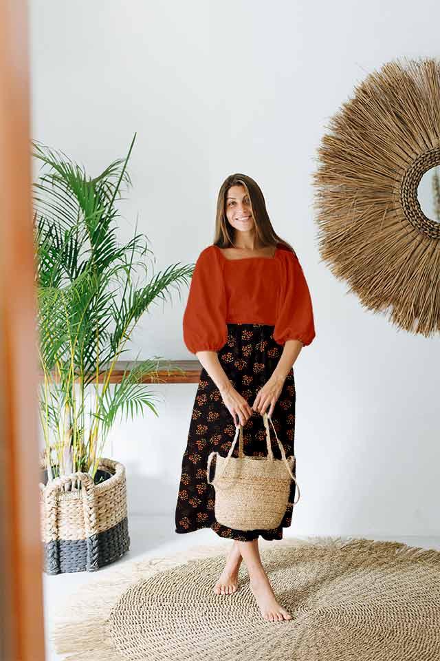 Pure Linen Frock Style Dress – Night Bloom