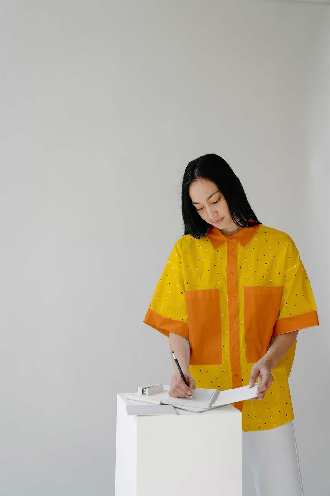 Pure Linen Shirt Top – Mustard Melody