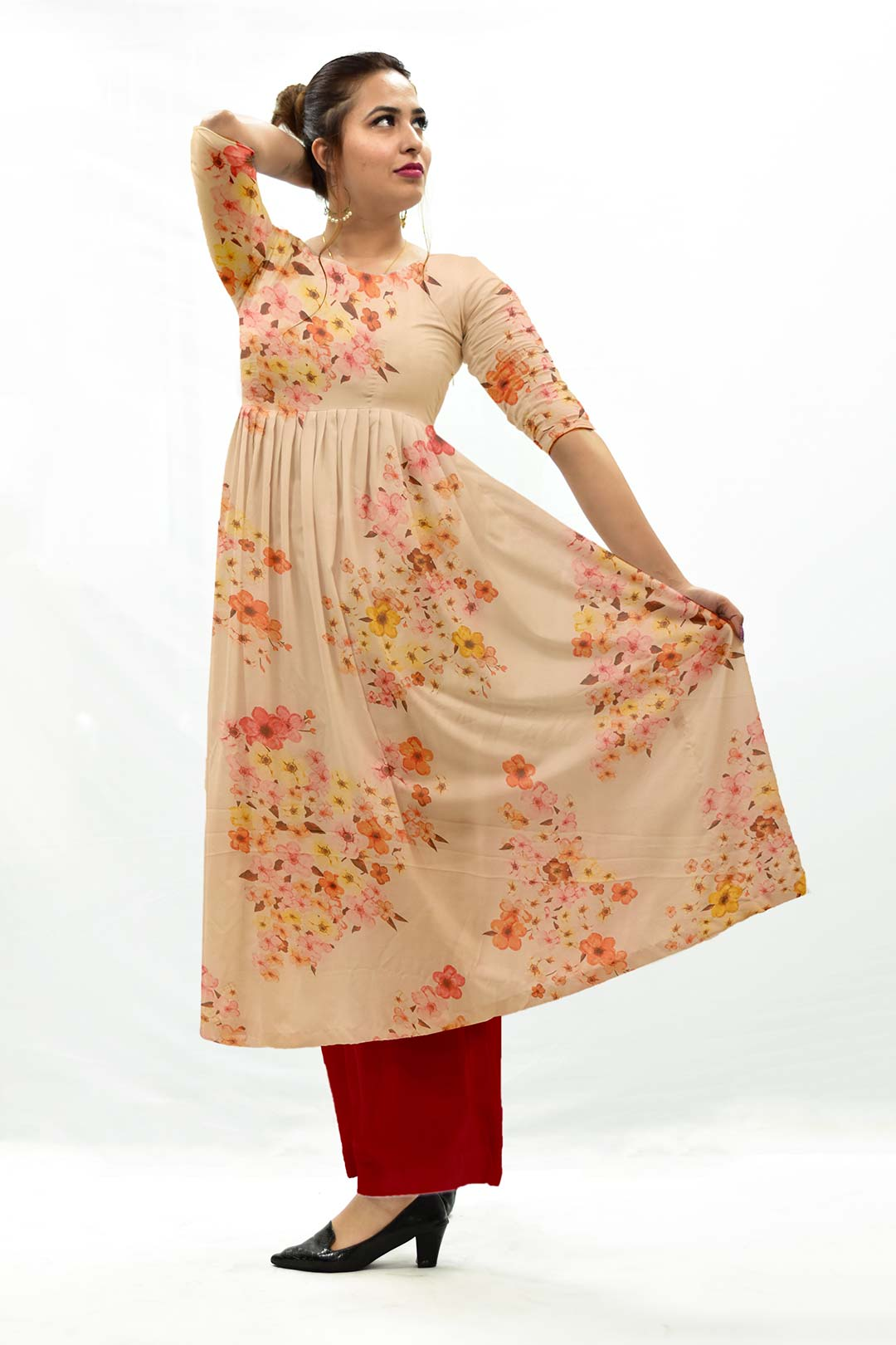 Cotton Lawan Frock Style Suit – Pop floral