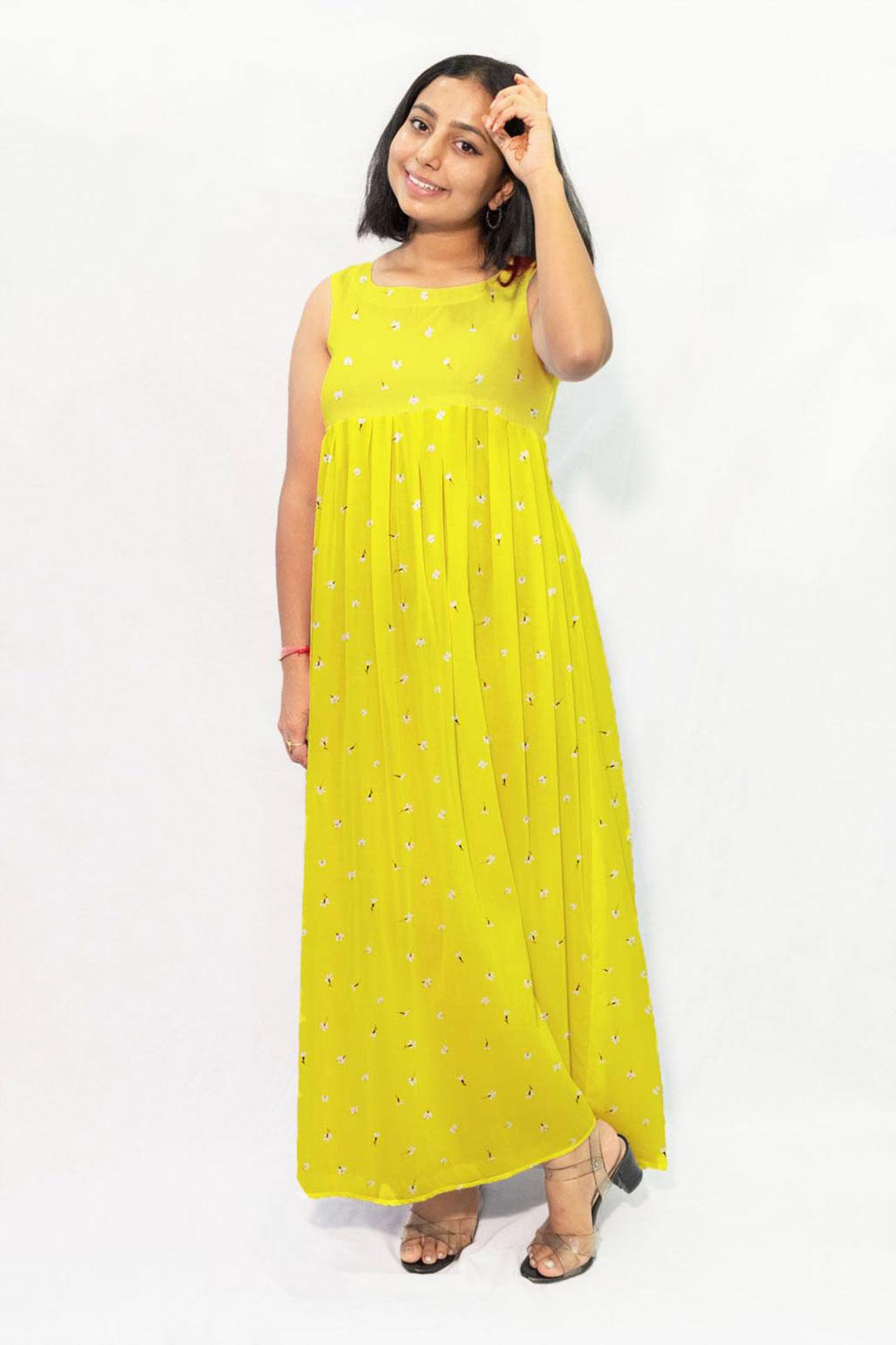 Pure Linen Maxi Dress – Mustard Melody