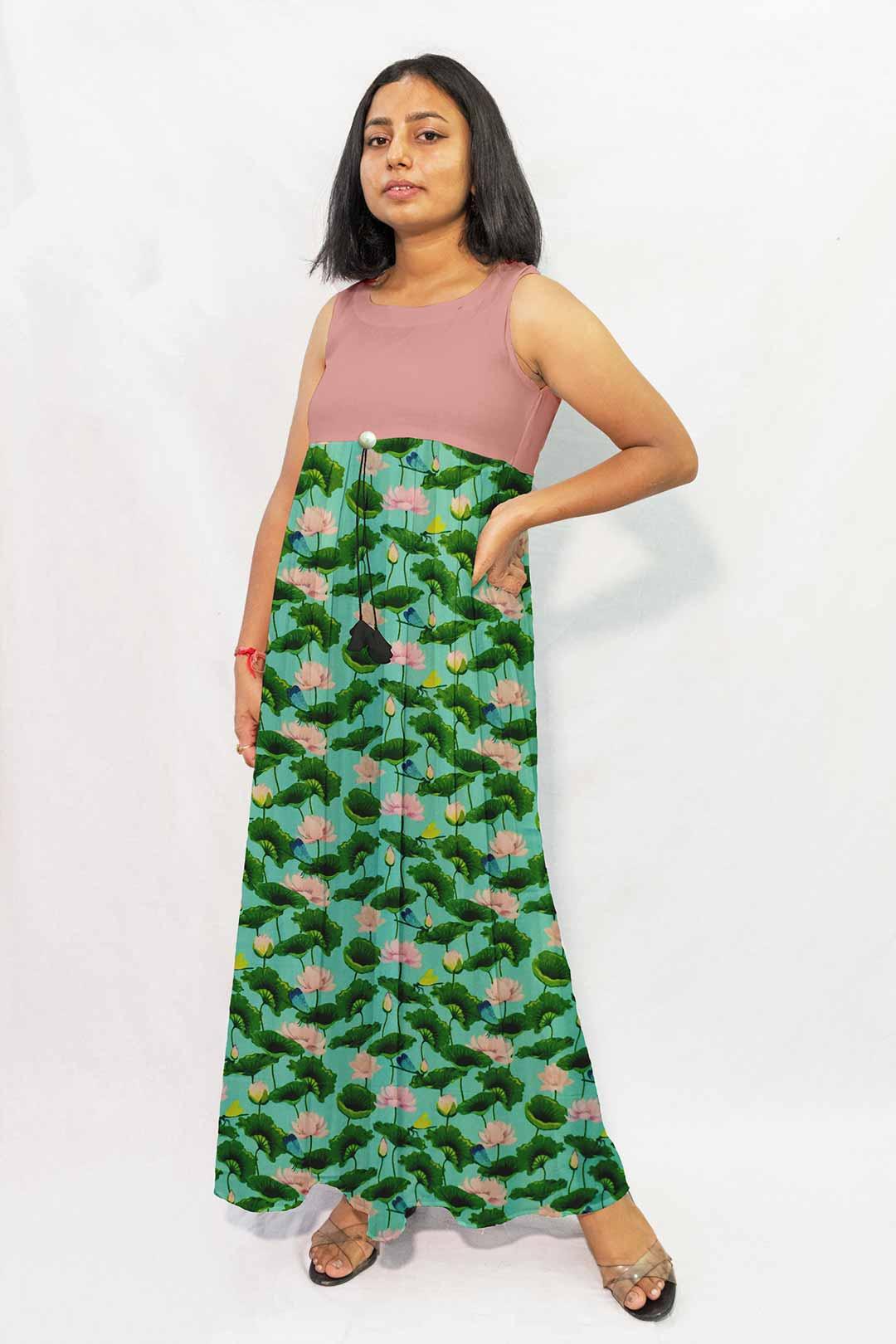 Rayon Maxi Dress – Flower Tale