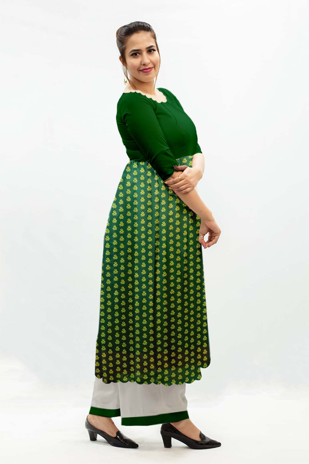 Georgette Frock Style Suit – Spinach