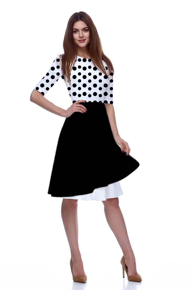 Georgette Fit and Flare Dress – Dots