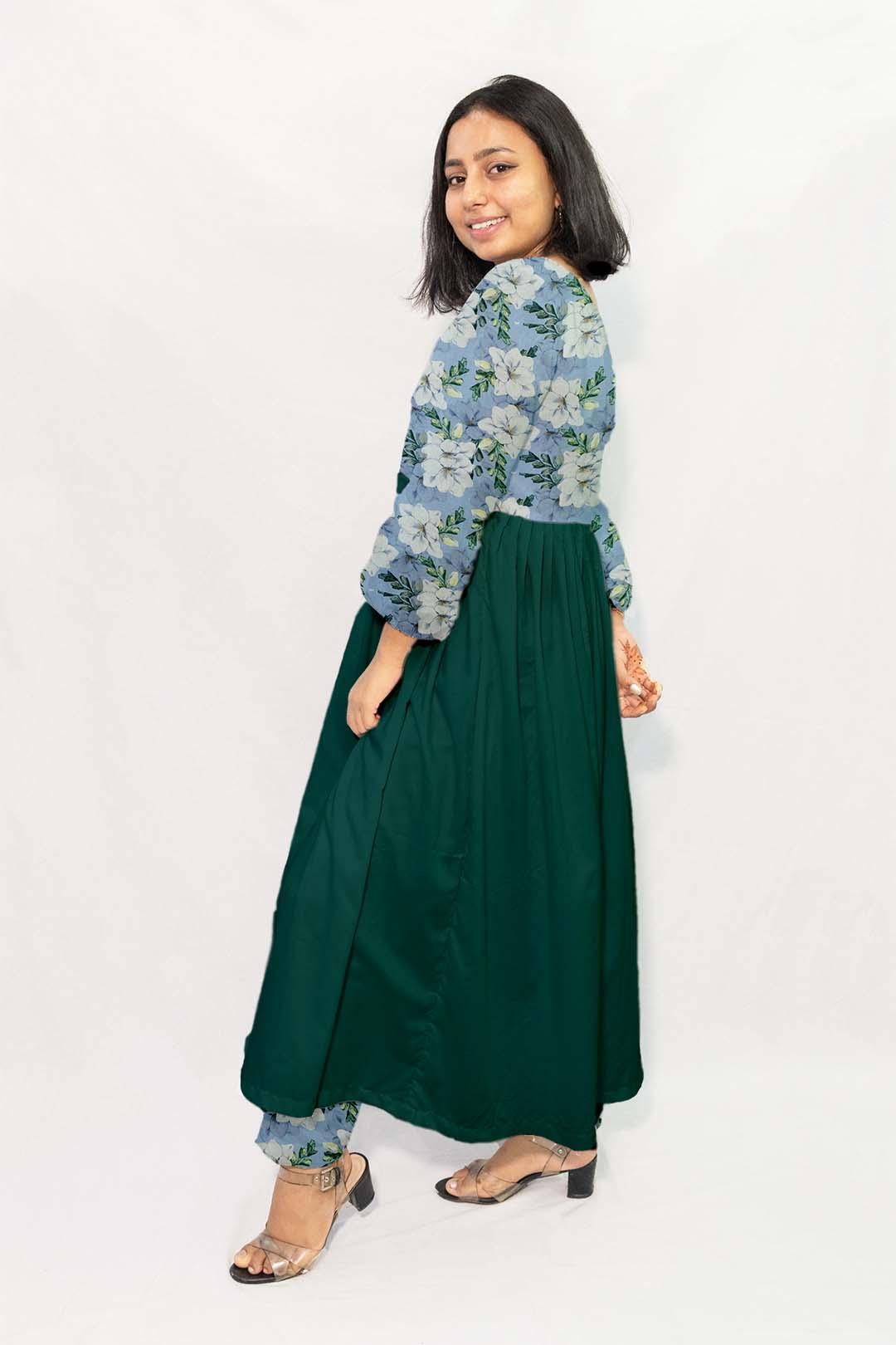 Georgette Frock Style Suit – Ocean Flower