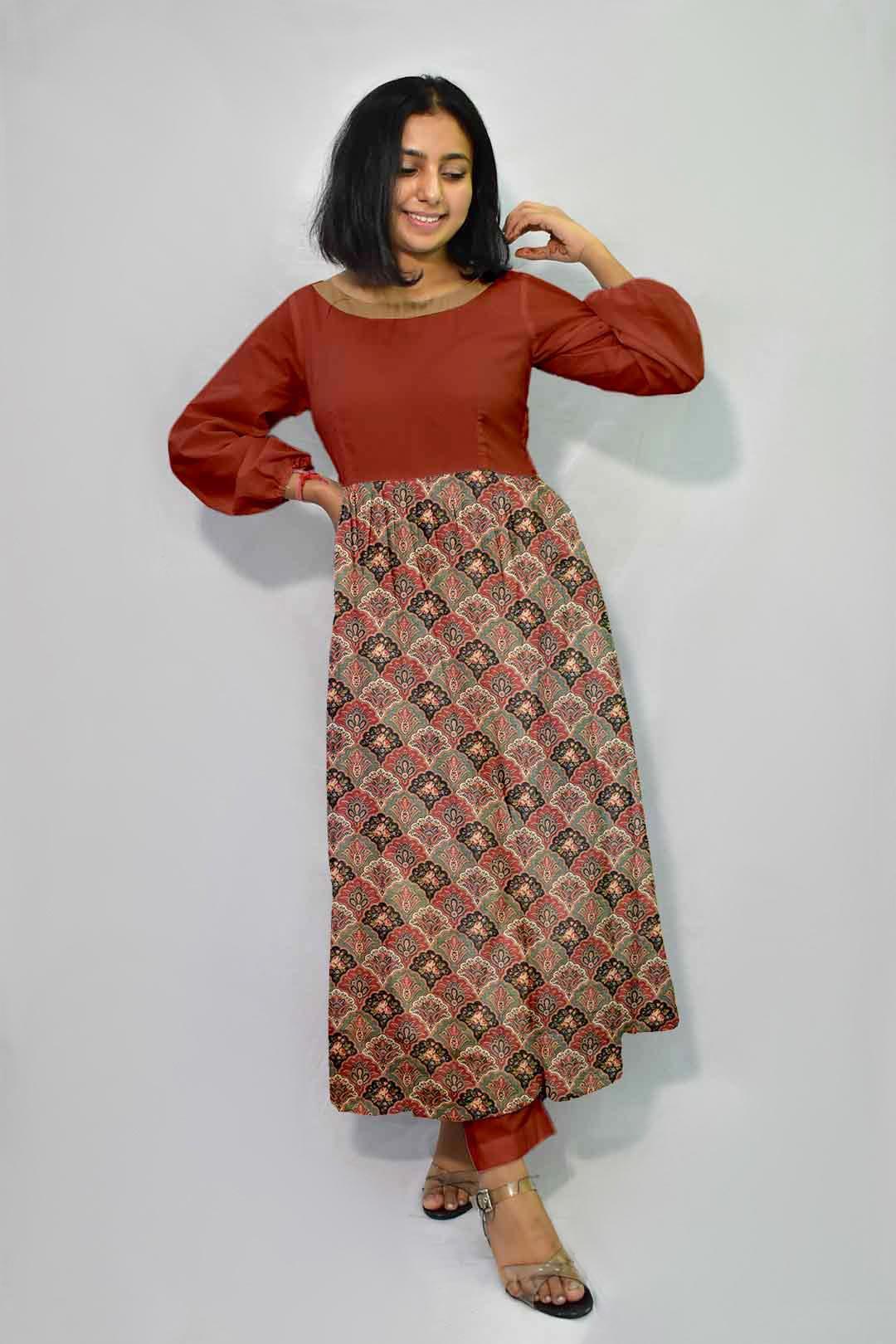 Pure Linen Frock Style Suit – Novelty