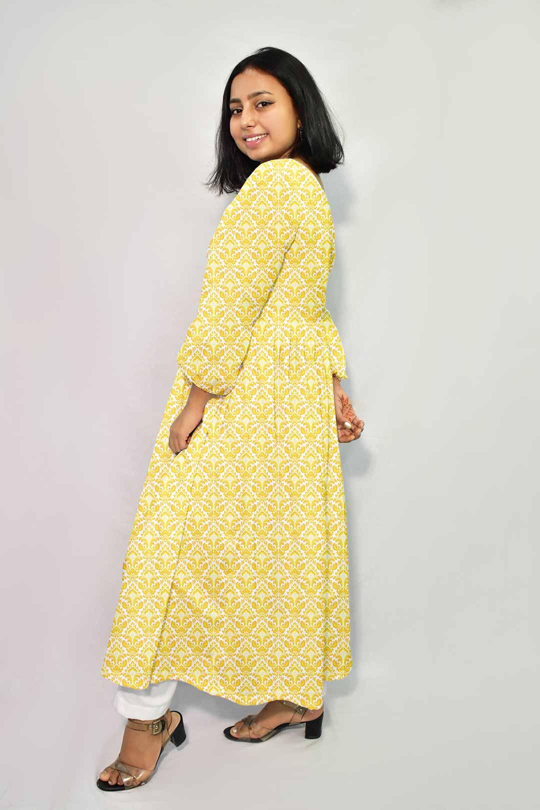 Georgette Frock style Suit – Mustard