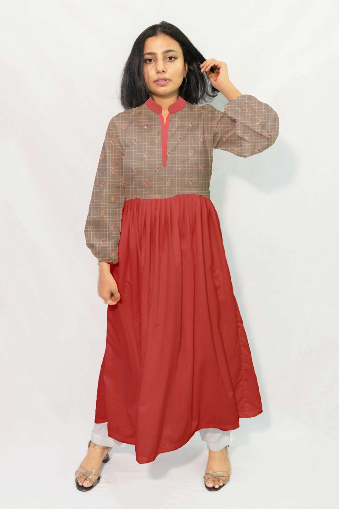Cotton Embroidery Frock Style Kurta – Pie in the sky