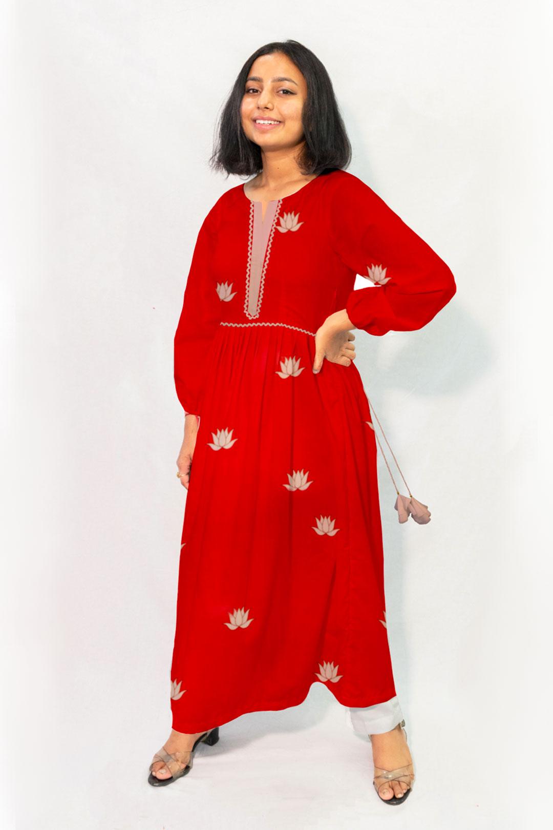 Georgette Frock Style Kurta – Kamla