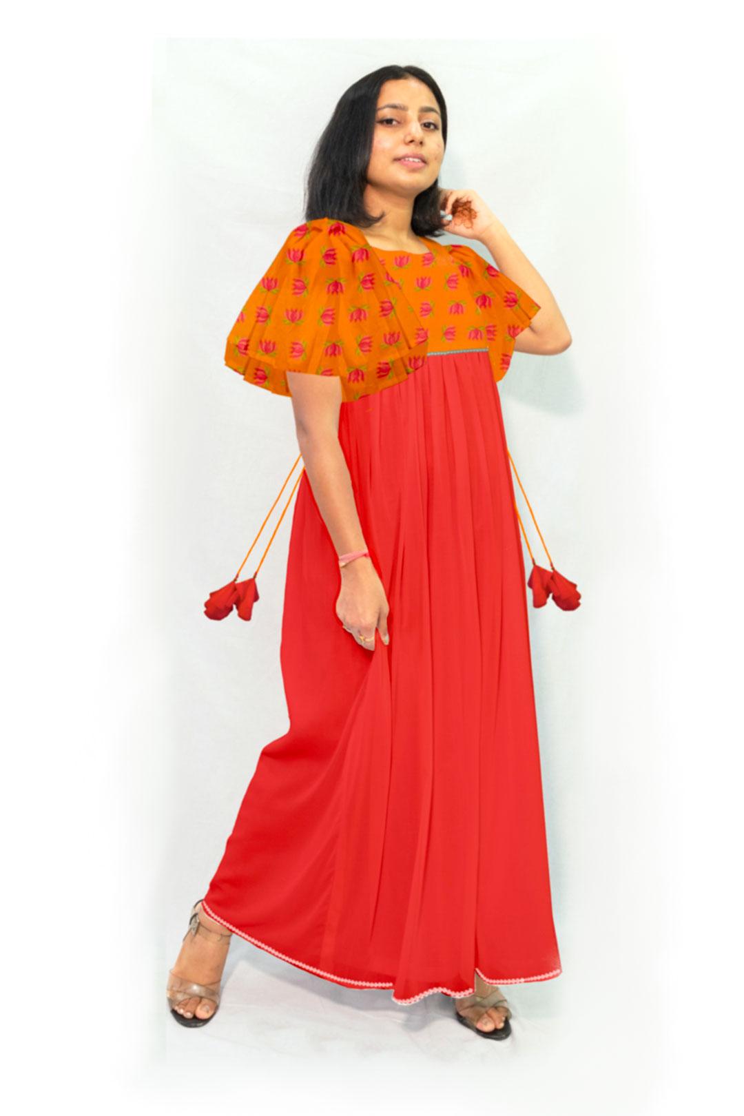 Georgette Maxi Dress – Tangerine