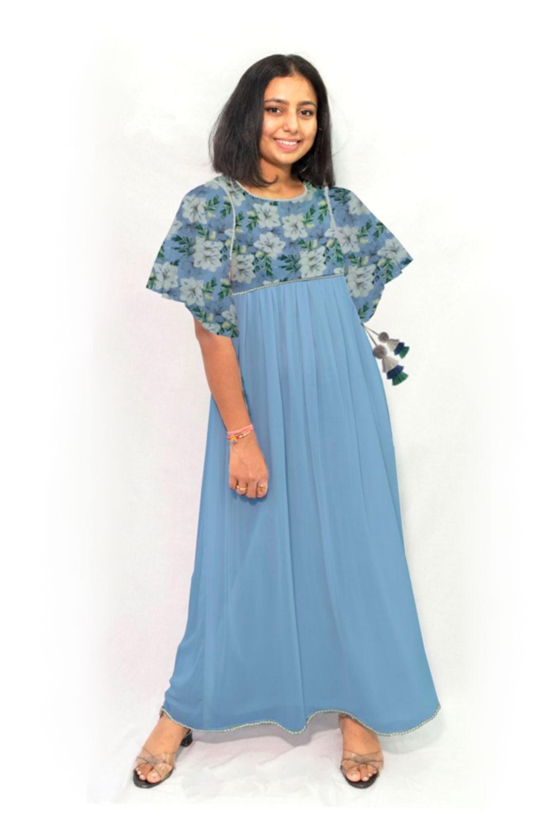 Georgette Maxi Dress – Ocean Flower
