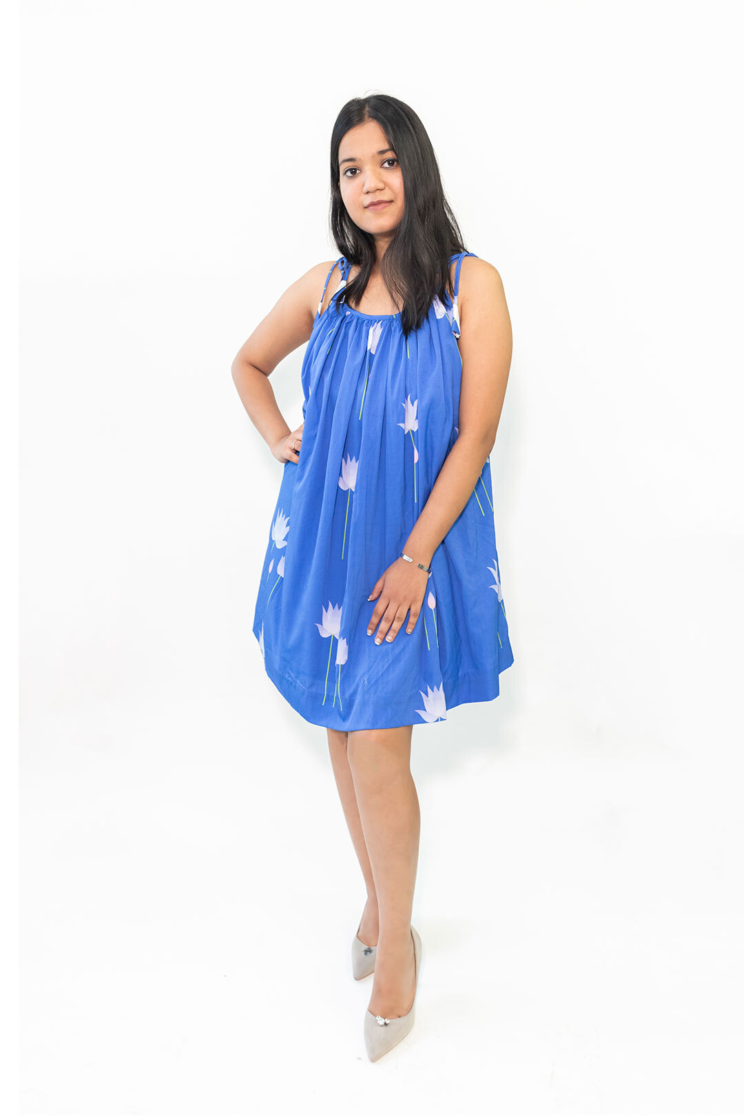 Georgette Dungaree Dress – Water Lily