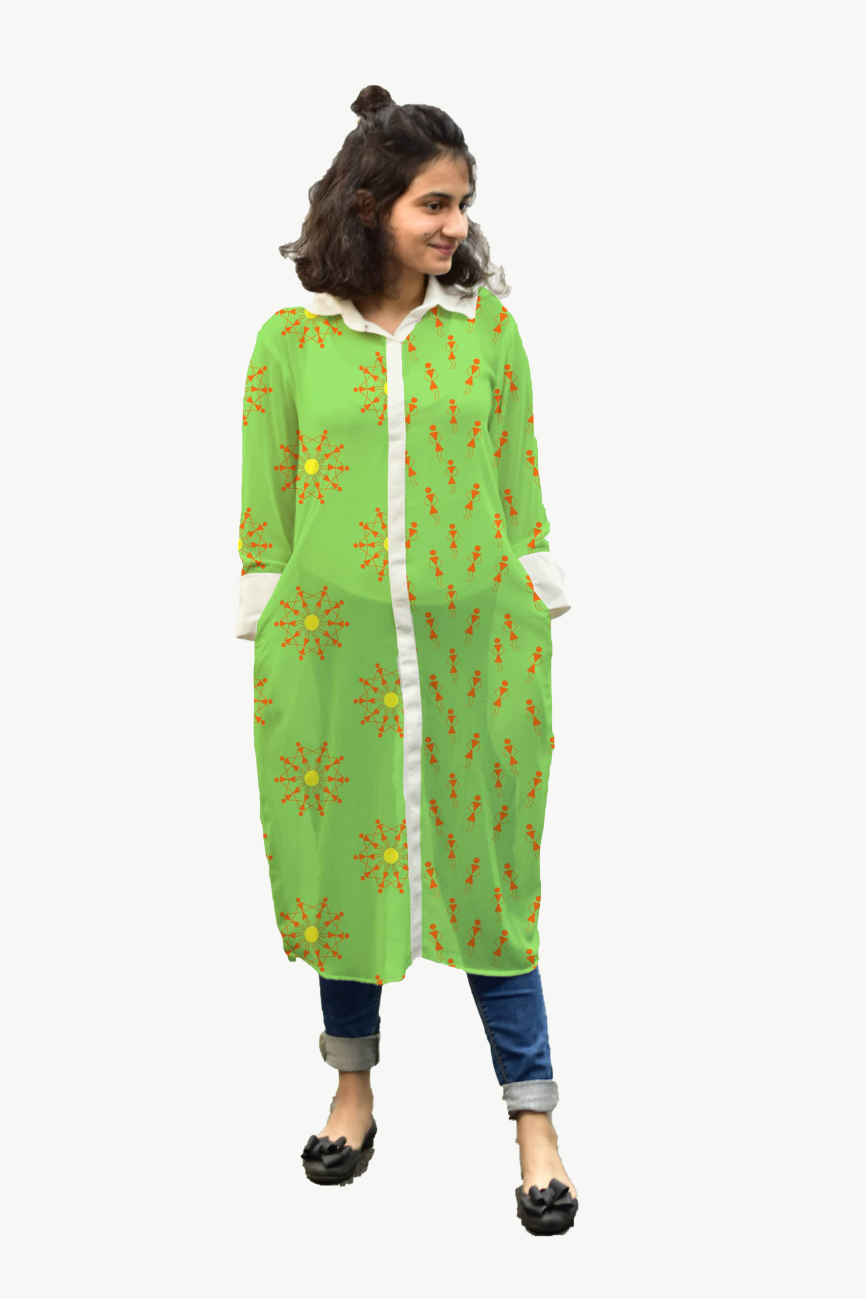 Georgette Shirt Style Kurta – Warli