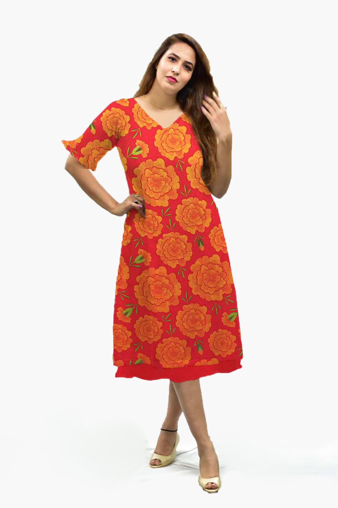 Georgette A line Dress – Mythical Marigold – Red