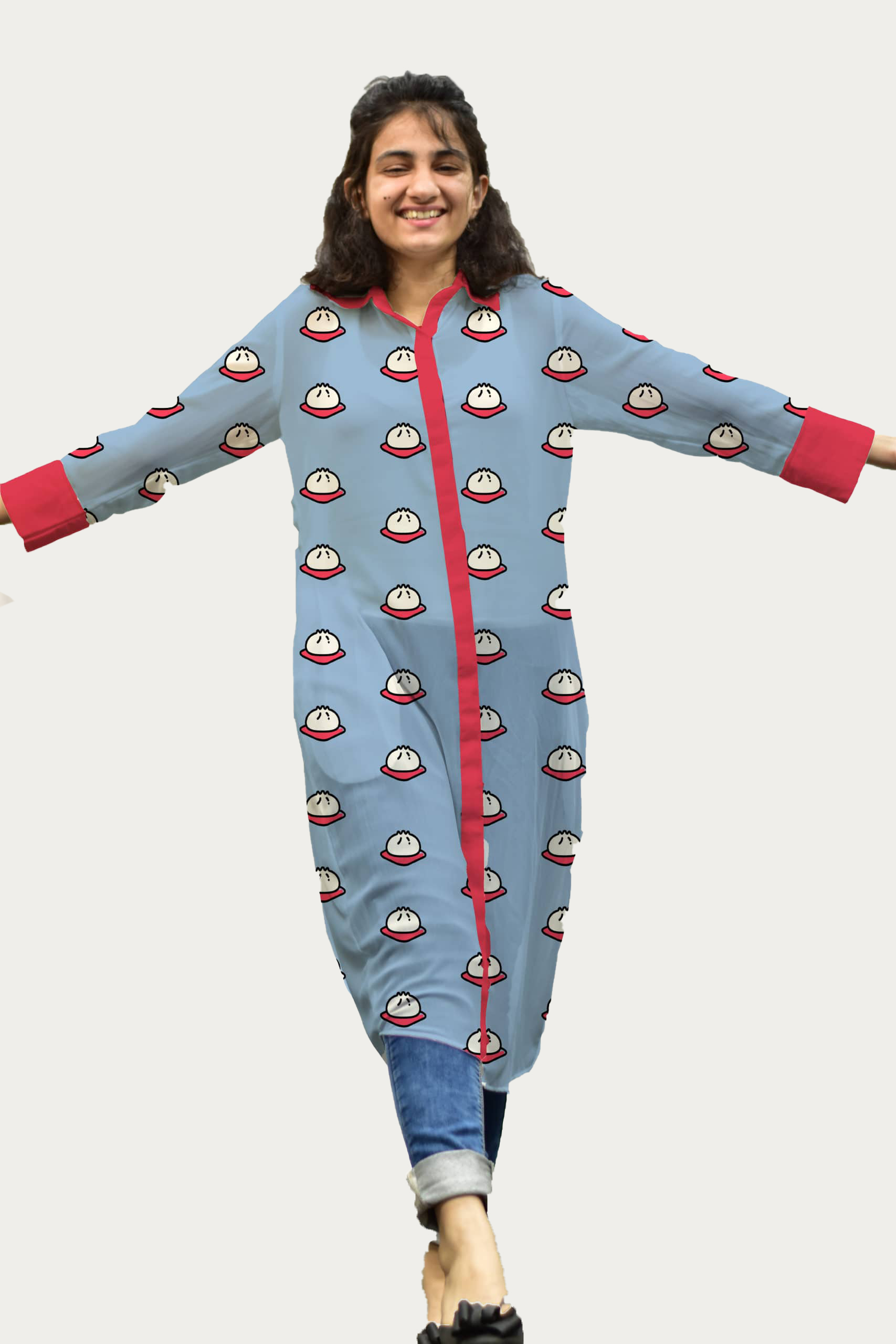 Georgette Shirt Style Kurta – Supermomos