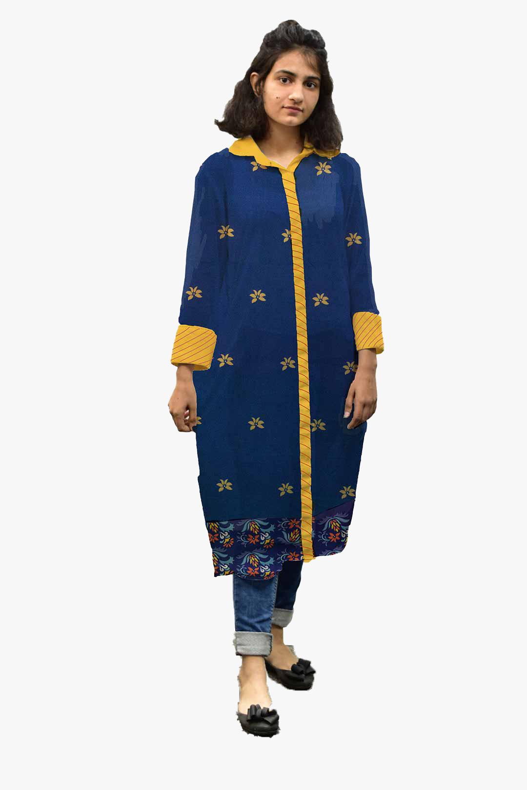 Georgette Shirt Style Kurta – Blu Bloom