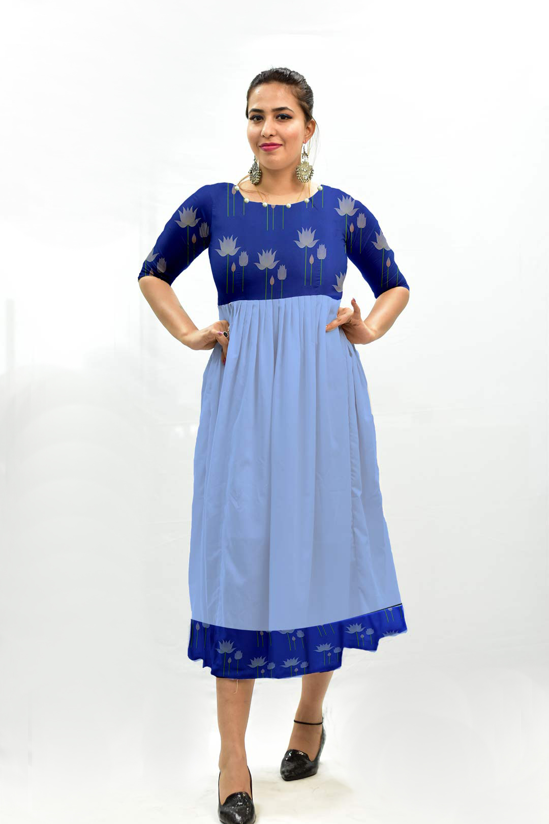Georgette Frock Style Dress – Water Lily