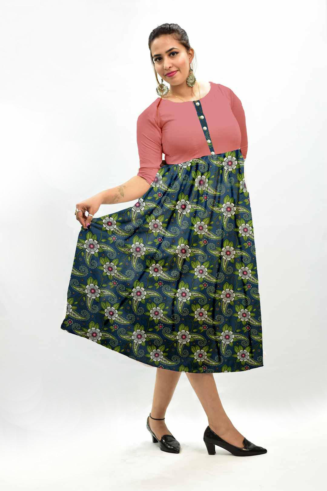 Georgette Frock Style Dress – Teal