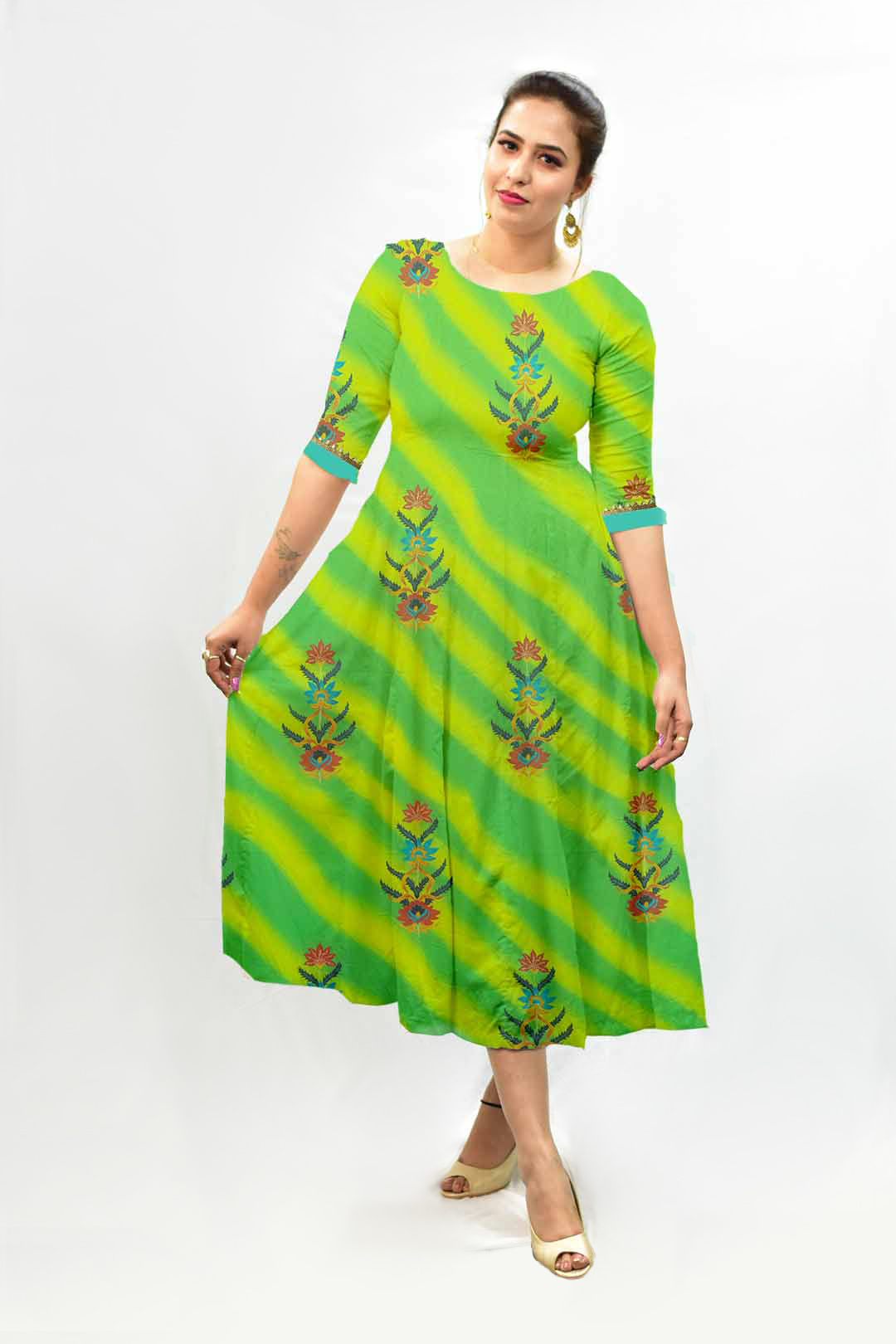 Georgette A line dress – Leheriya (Green)