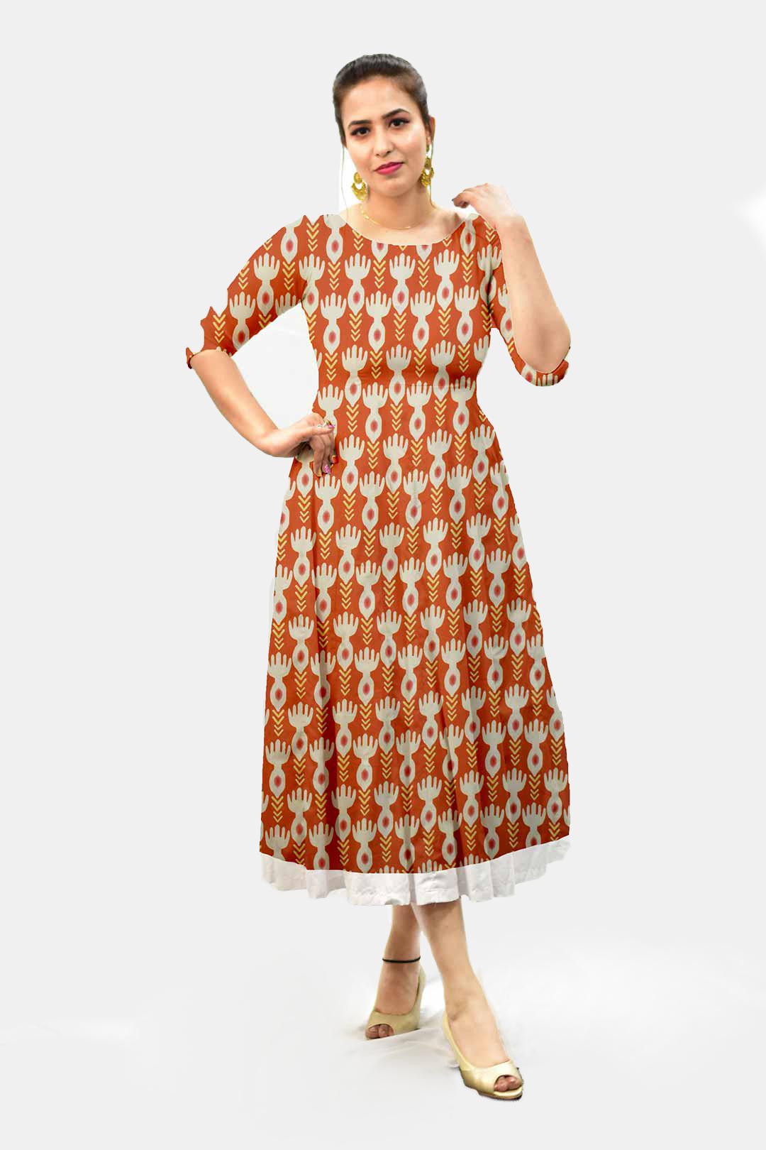 Cotton A Line Dress – Bind (Brick Red)