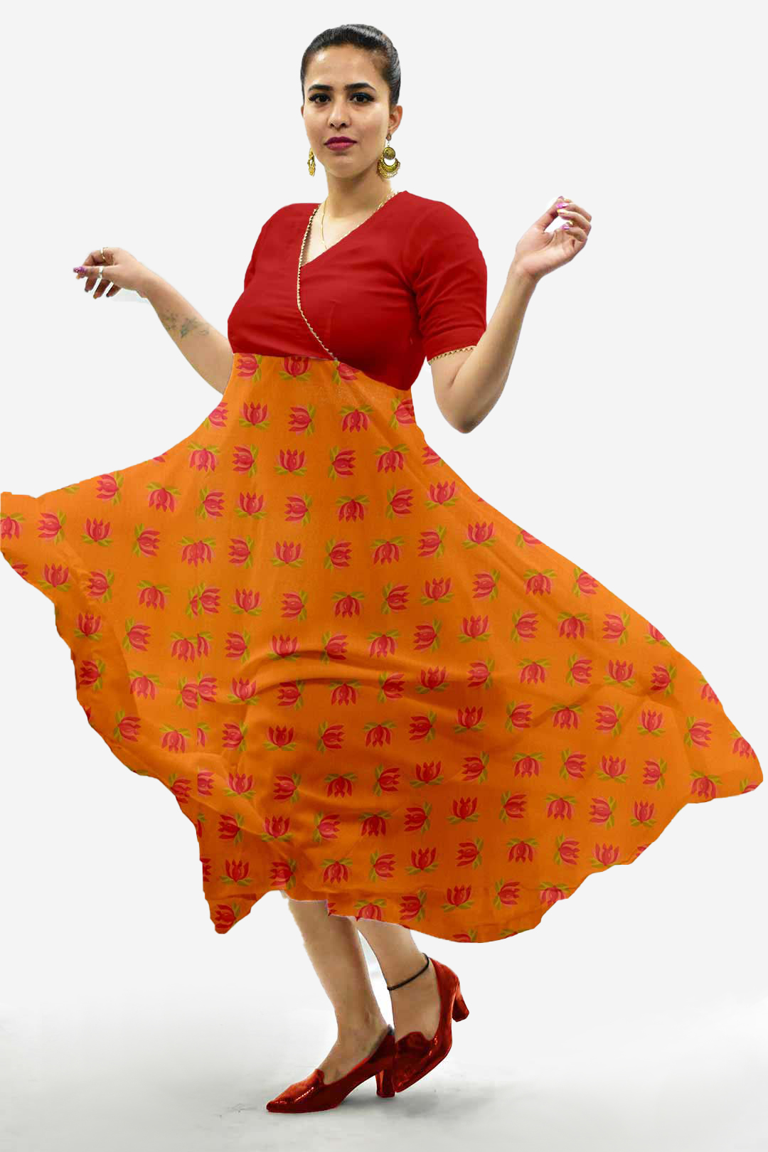 Georgette Anarkali Kurta – Tangerine