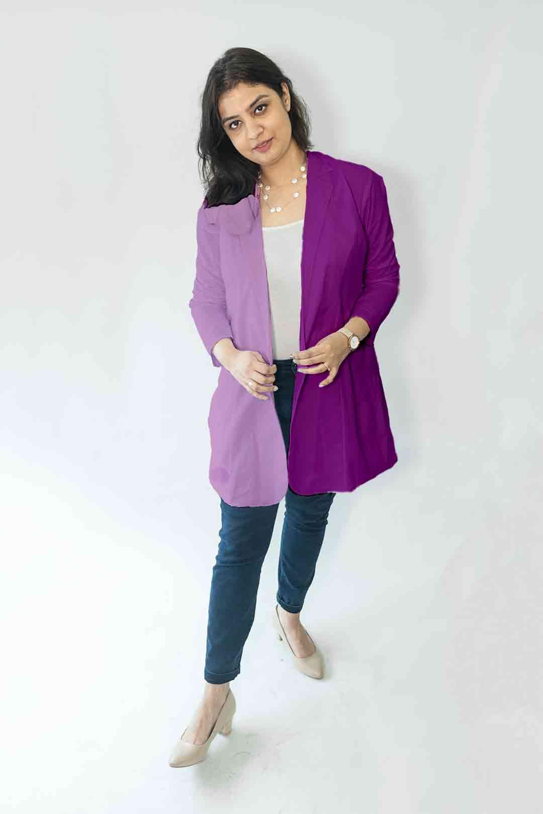 Cotton Casual Blazer-Monochrome (Purple)