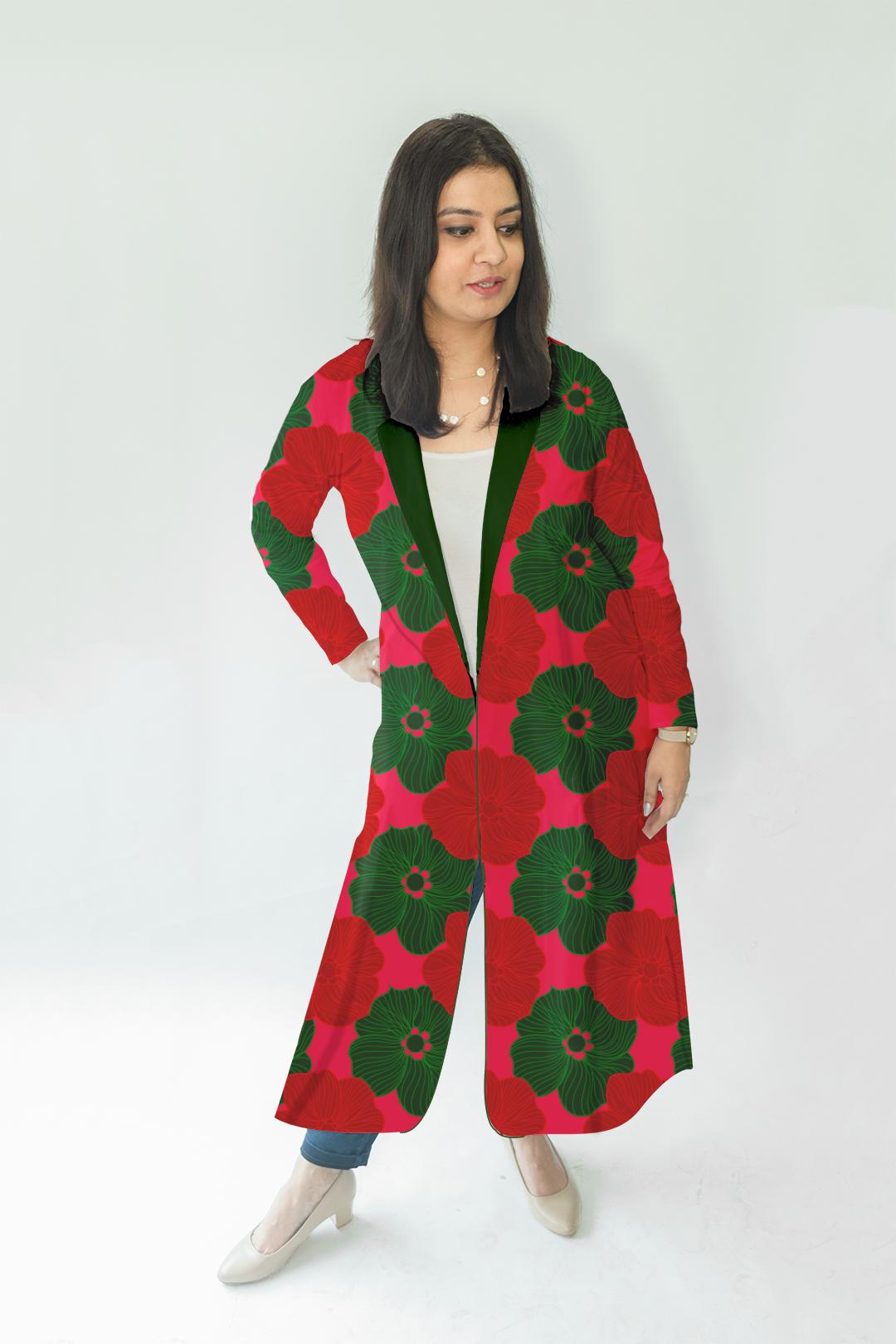 Cotton Casual Long Blazer-Blossom