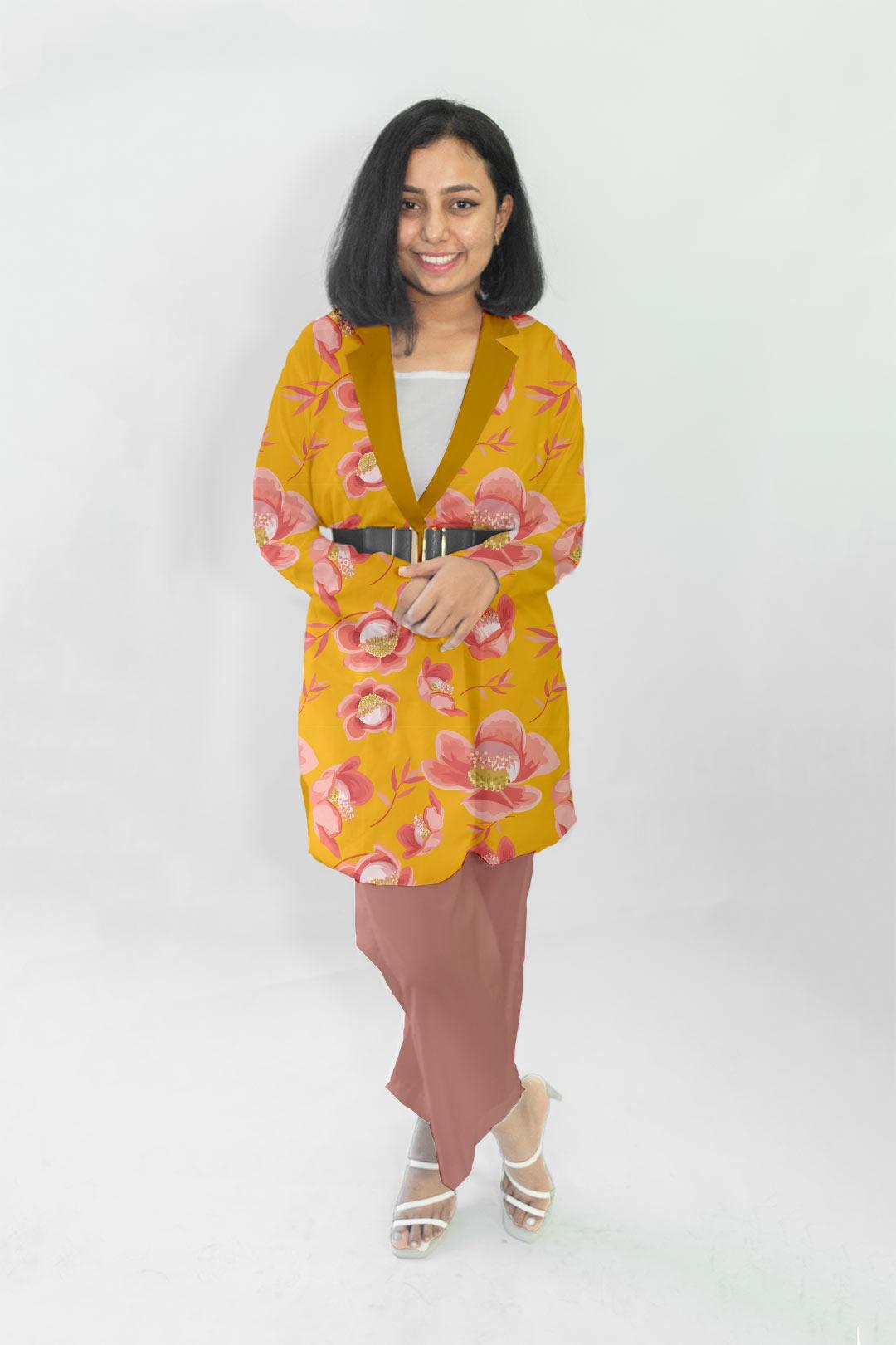Cotton Blazer Set-Marigold blossom