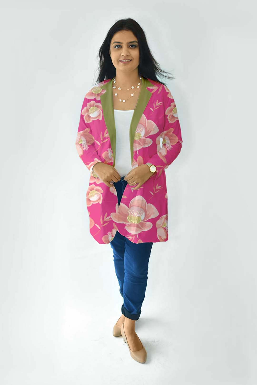 Cotton Casual Blazer-Pink Paradise