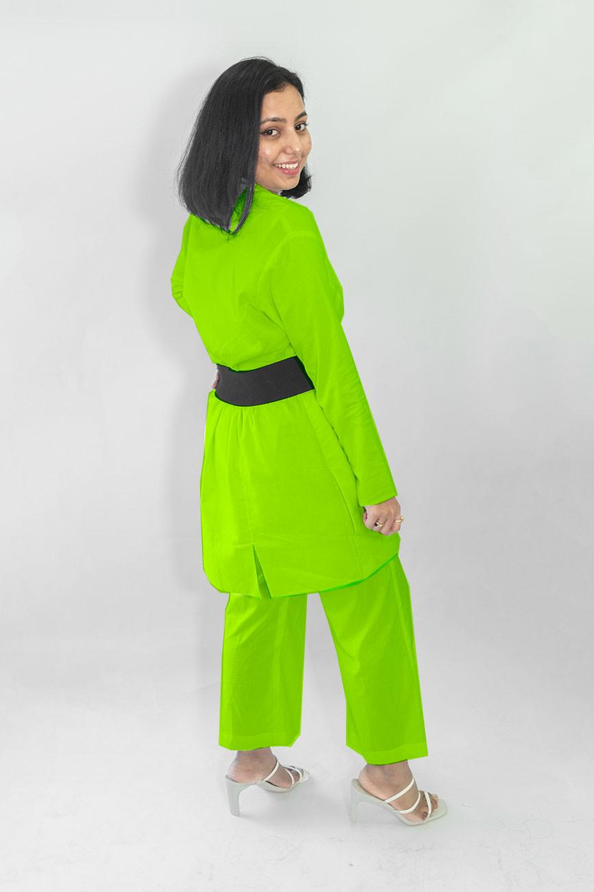 Cotton Co-ords-Monochrome (Parrot Green)
