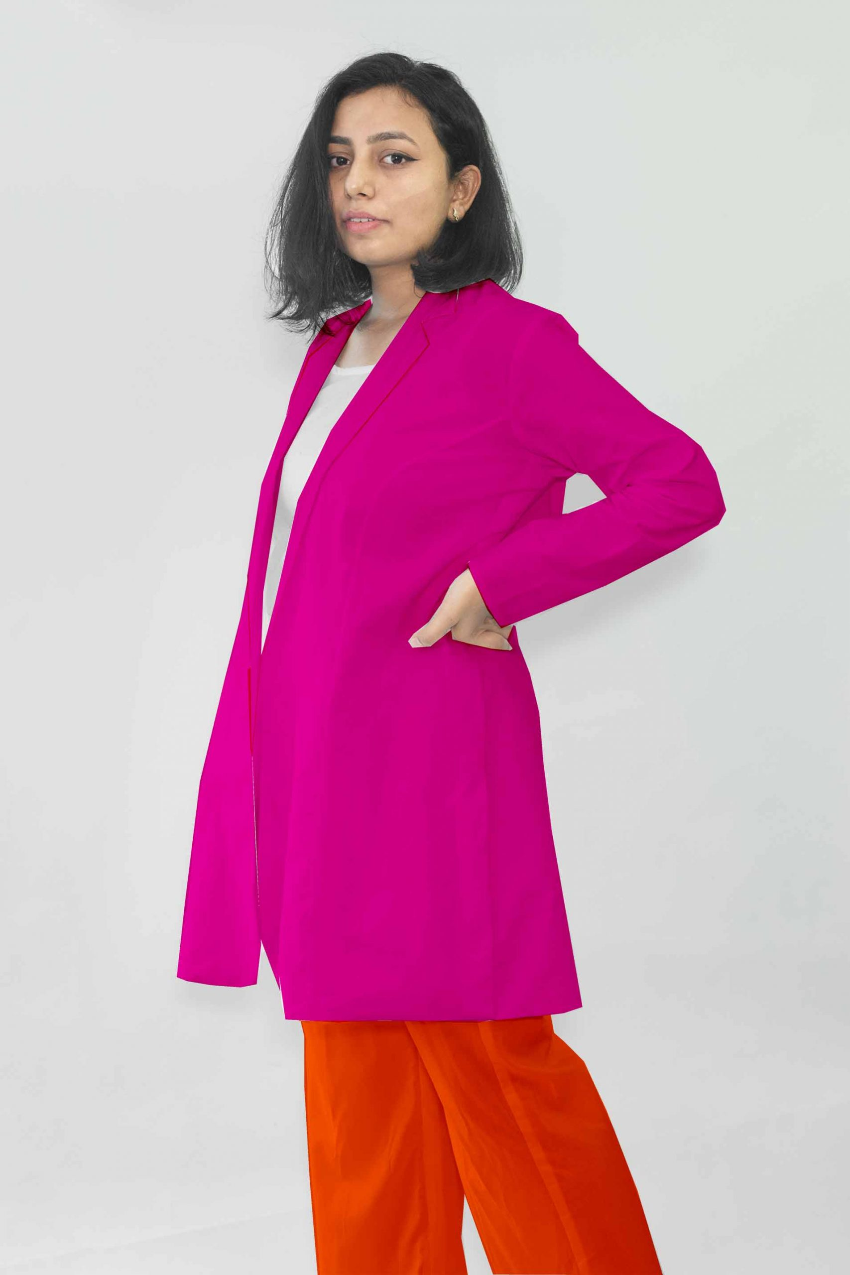 Cotton Blazer Set-Monochrome (Hot Pink)