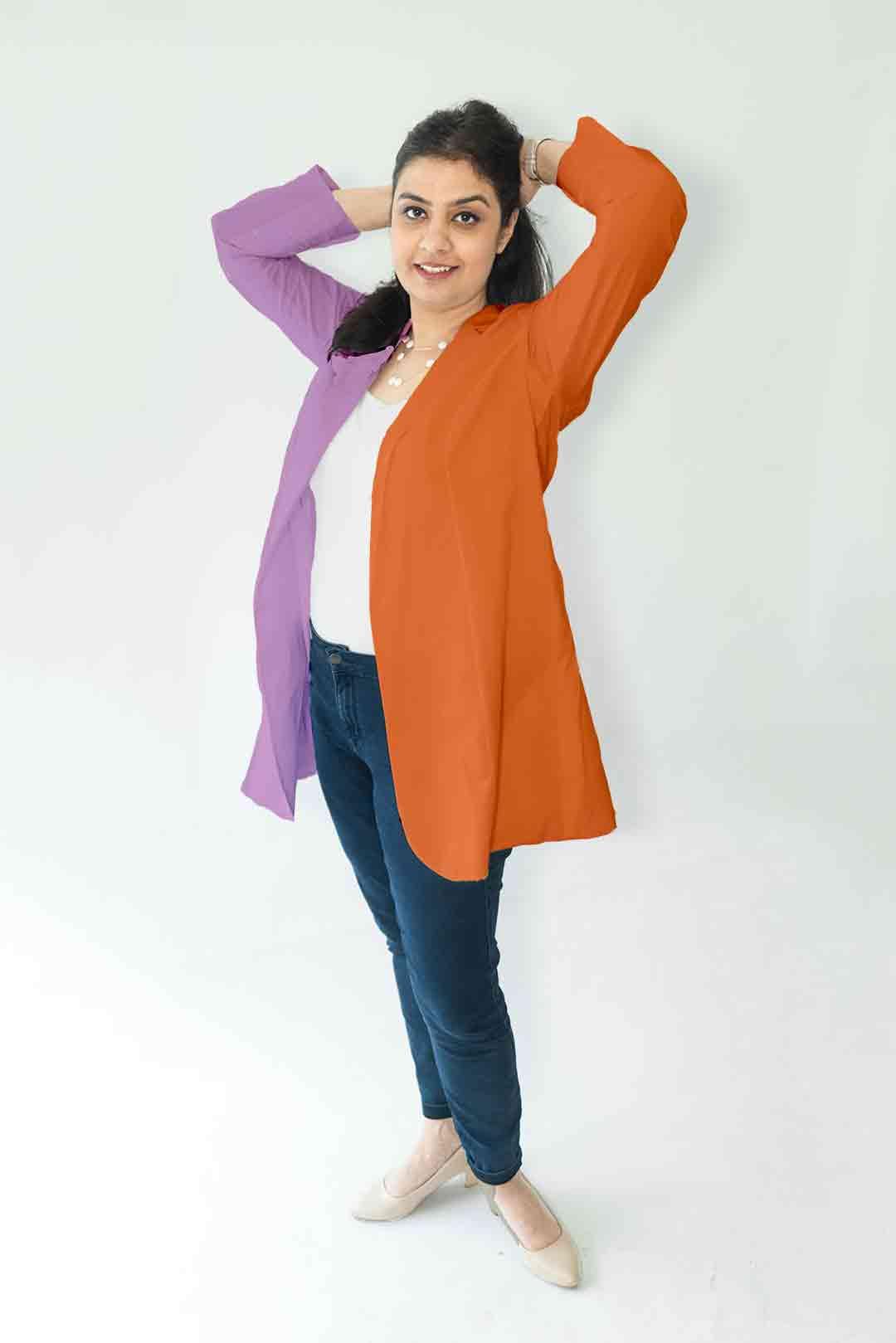 Cotton Casual Blazer-Monochrome (Purple and Orange)