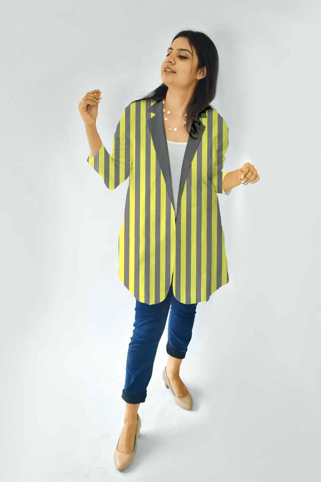 Cotton Casual Blazer-Stripe that down
