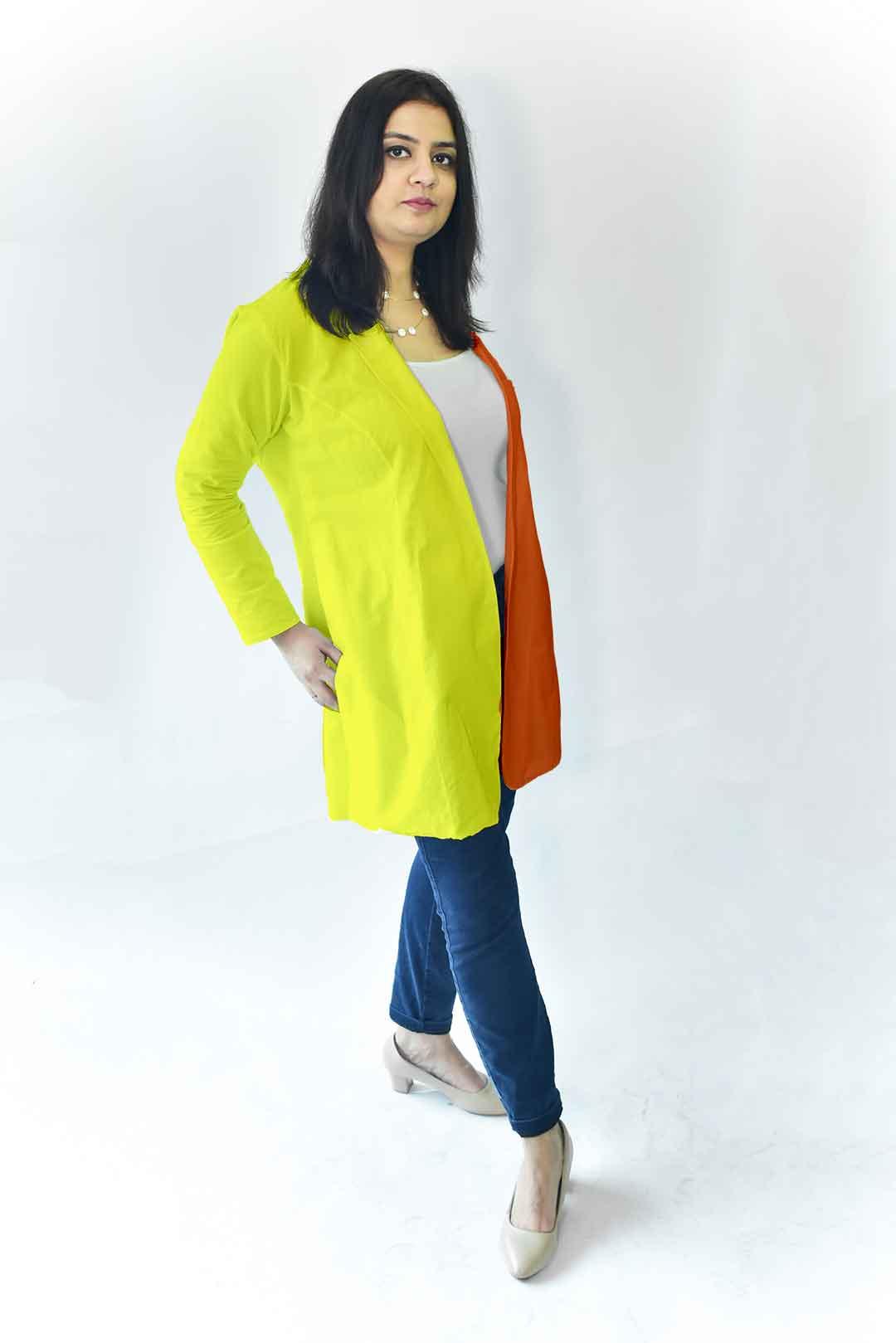 Cotton Casual Blazer-Monochrome (Orange and Yellow)