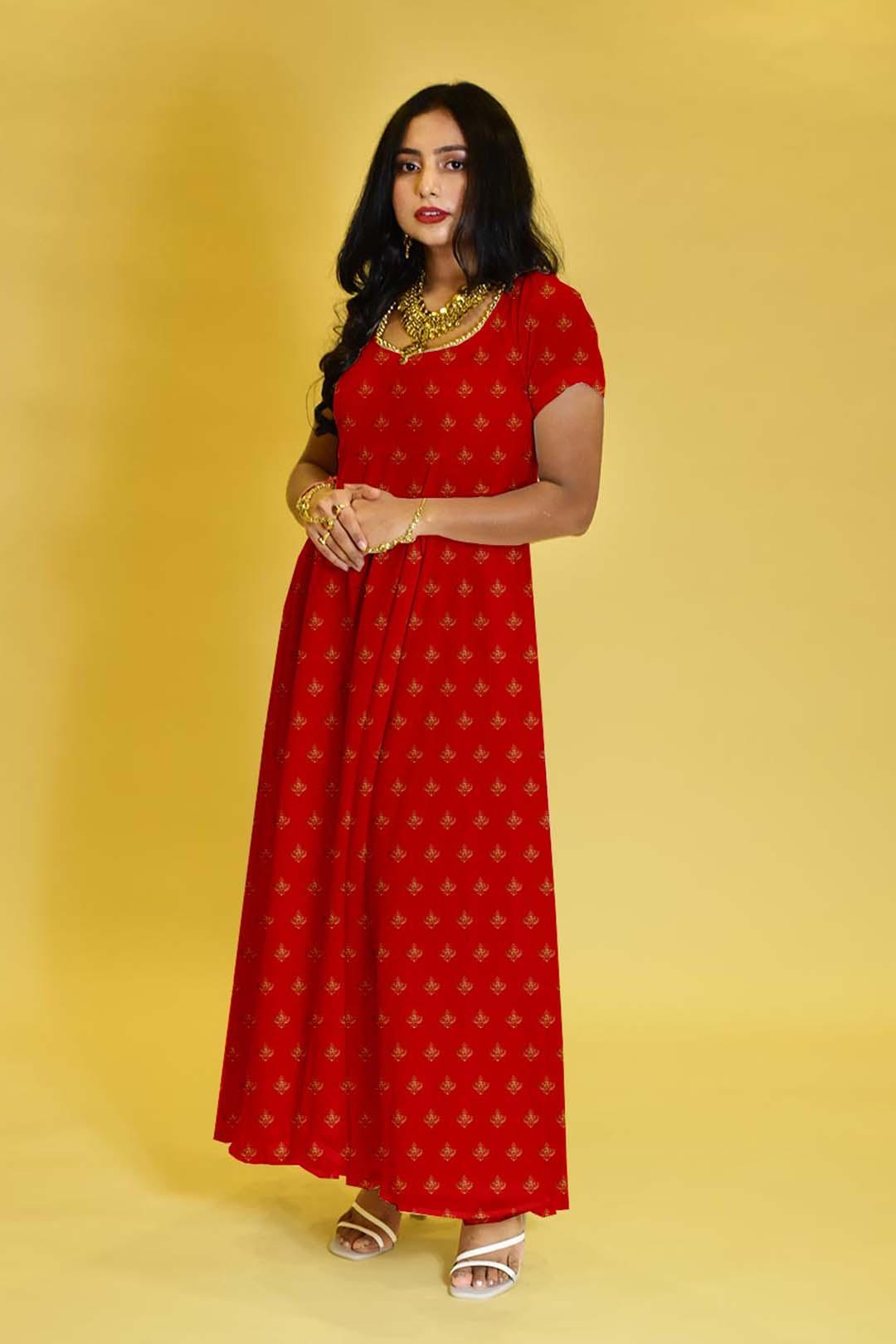 Georgette Anarkali Dress – Minimal Red