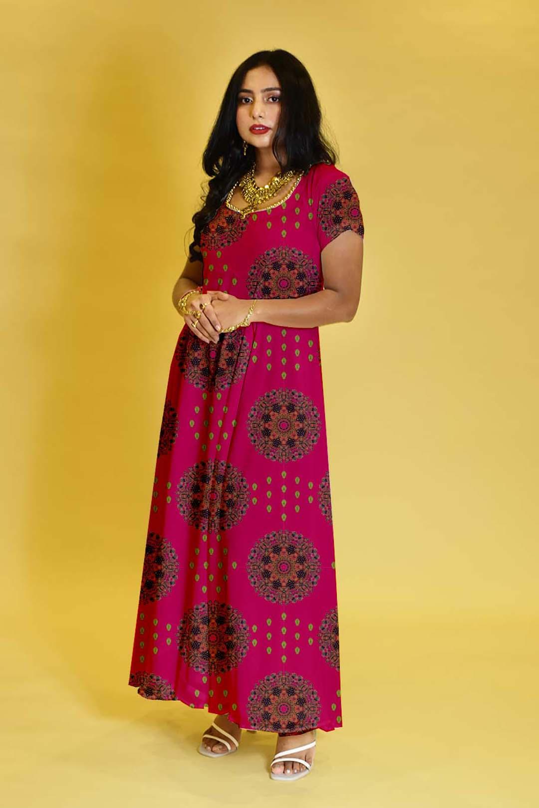 Georgette Anarkali Dress – Pink Play