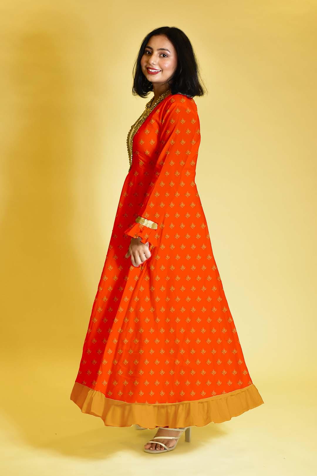 Rayon Anarkali Dress – Moonrise
