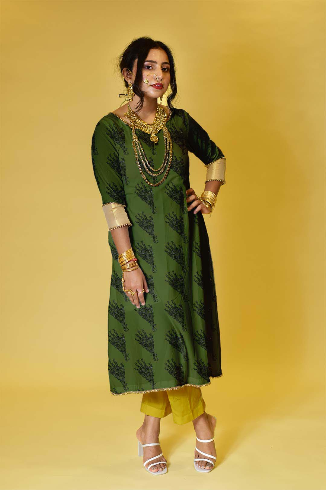 Cotton Pant Suit – Green Bee