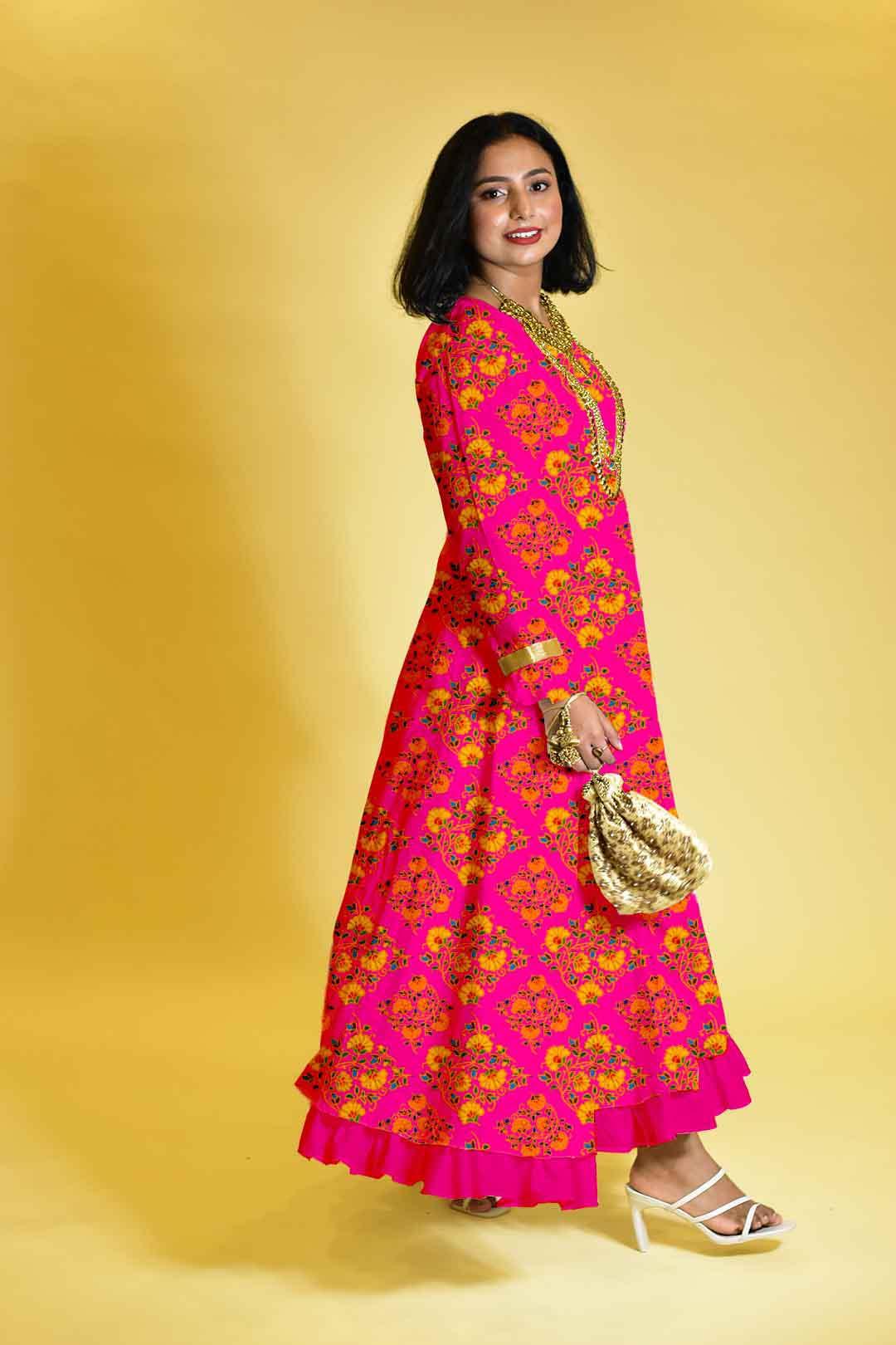 Rayon Anarkali Dress – Happy pink
