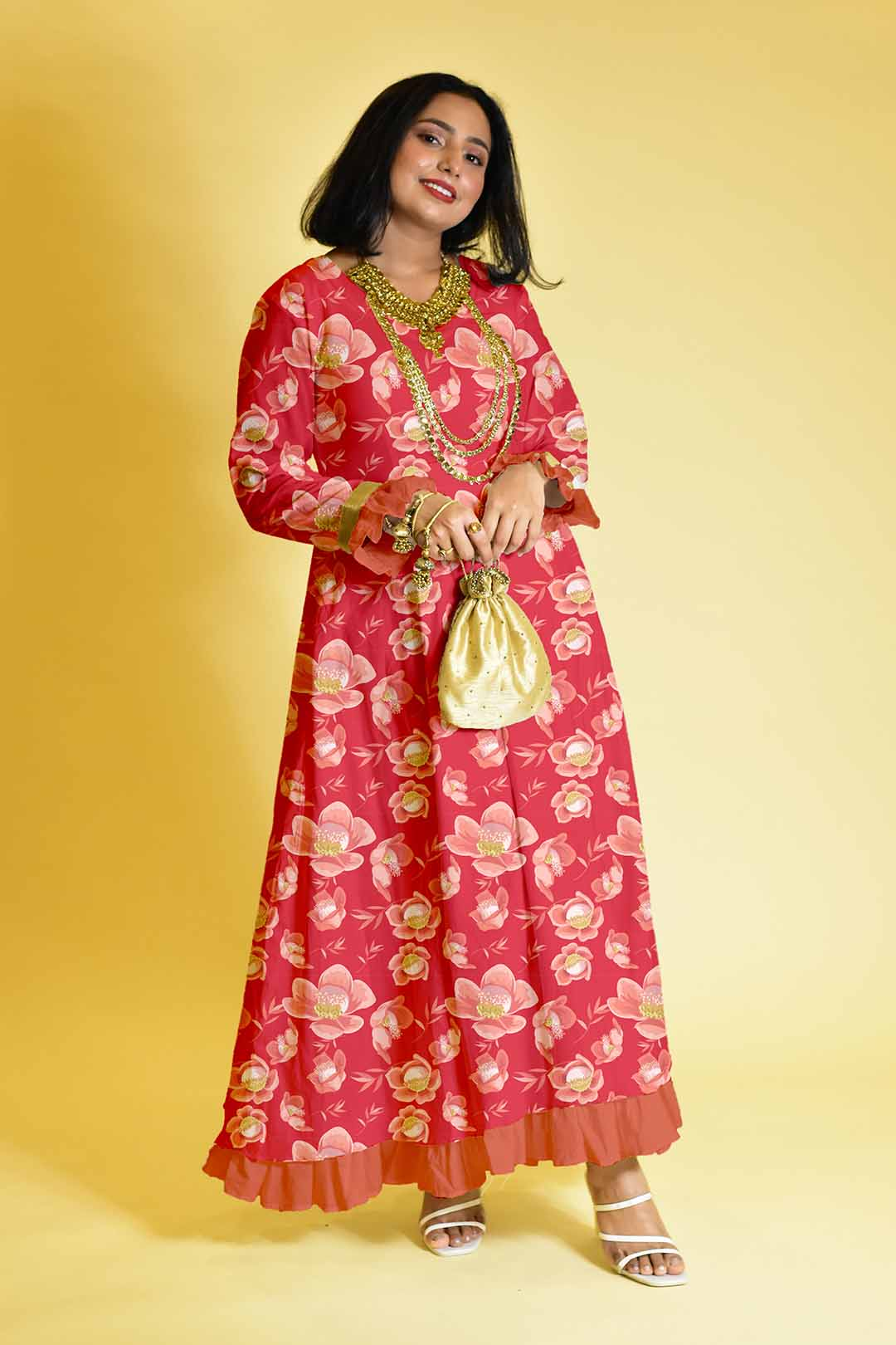 Rayon Anarkali Dress – Floral era
