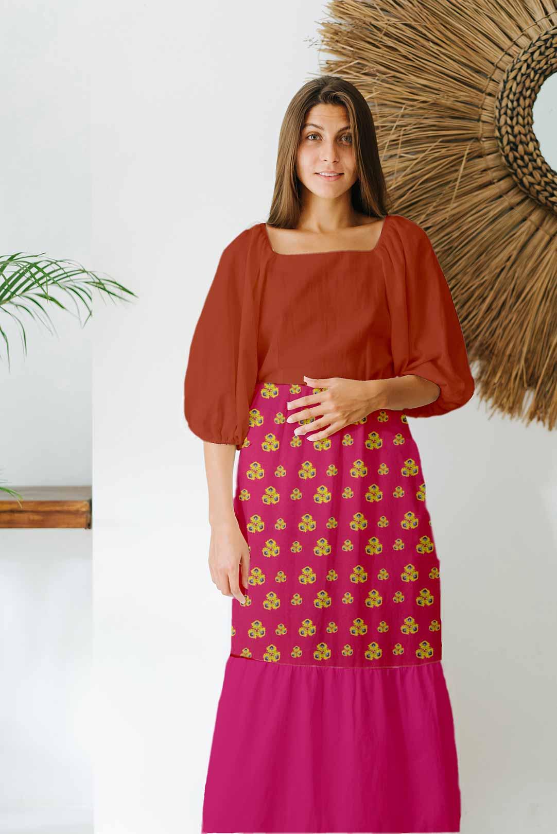 Cotton Tiered Dress – Fantasy (Mehroon)