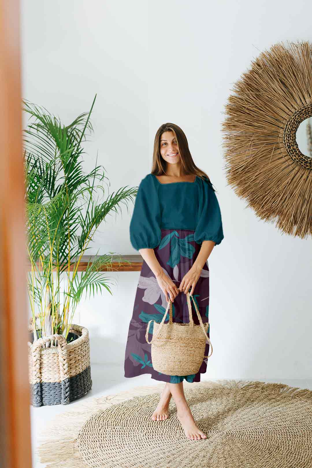 Cotton Frock Style Dress – Turquoise Splash