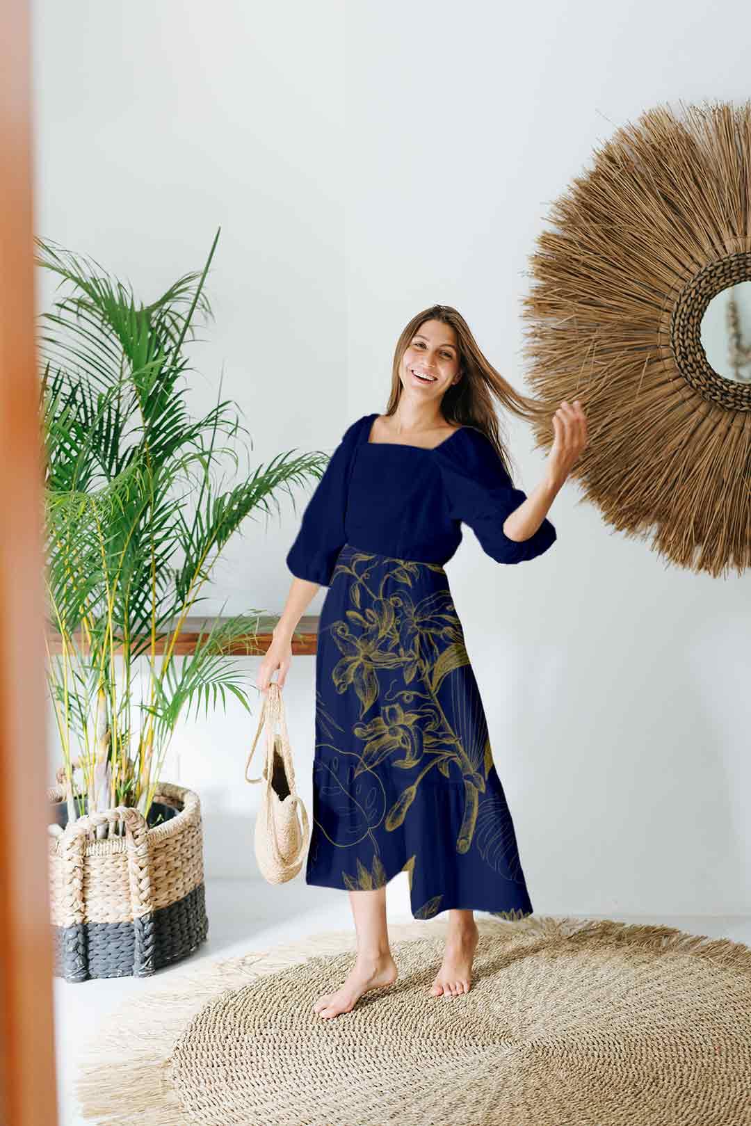 Cotton Frock Style Dress – Stencil