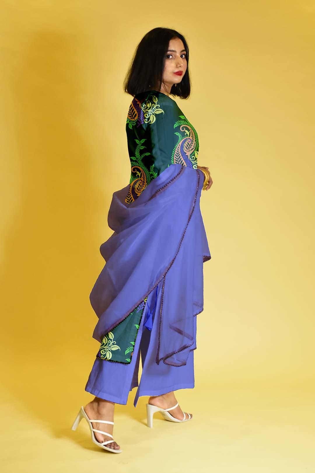 Cotton Palazzo Suit – Green Lush
