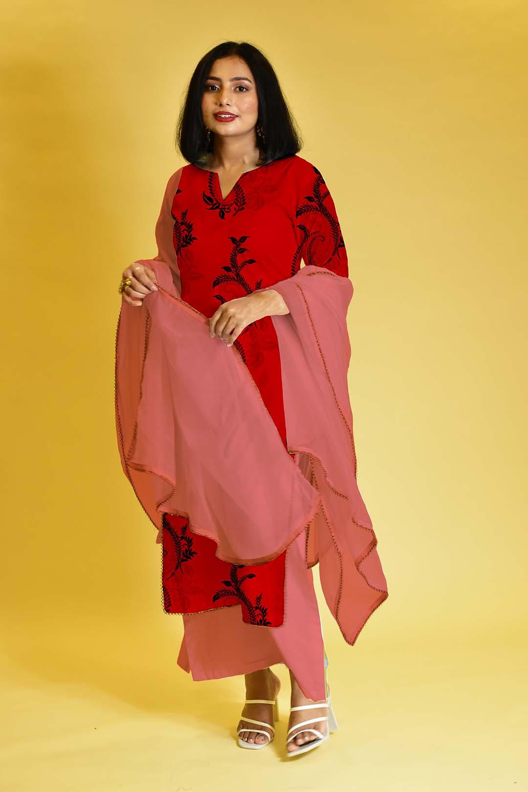 Cotton Palazzo Suit – Sleek Scarlet