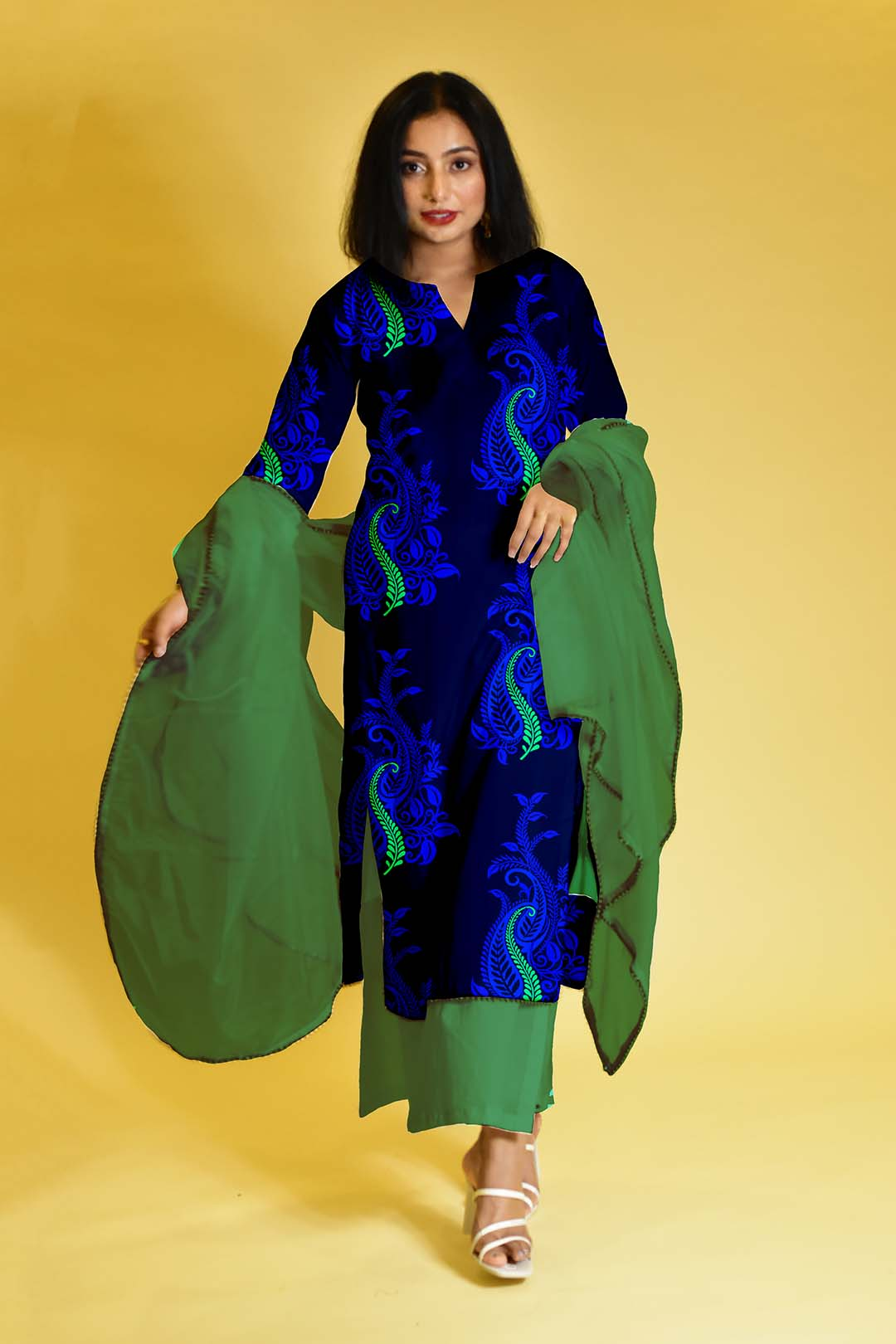 Cotton Palazzo Suit – Midnight Blue